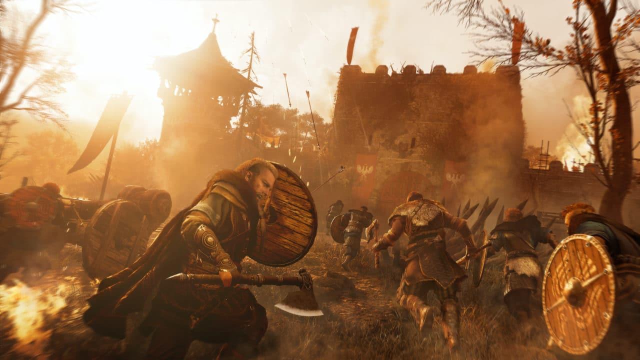 Imagem do jogo AC Valhalla com o protagonista Eivor levantando seu escudo e recebendo flechadas