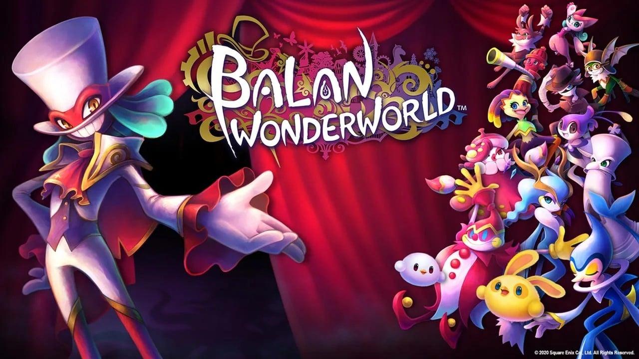 Capa do game Balan Wonderworld, com vários personagens coloridos.