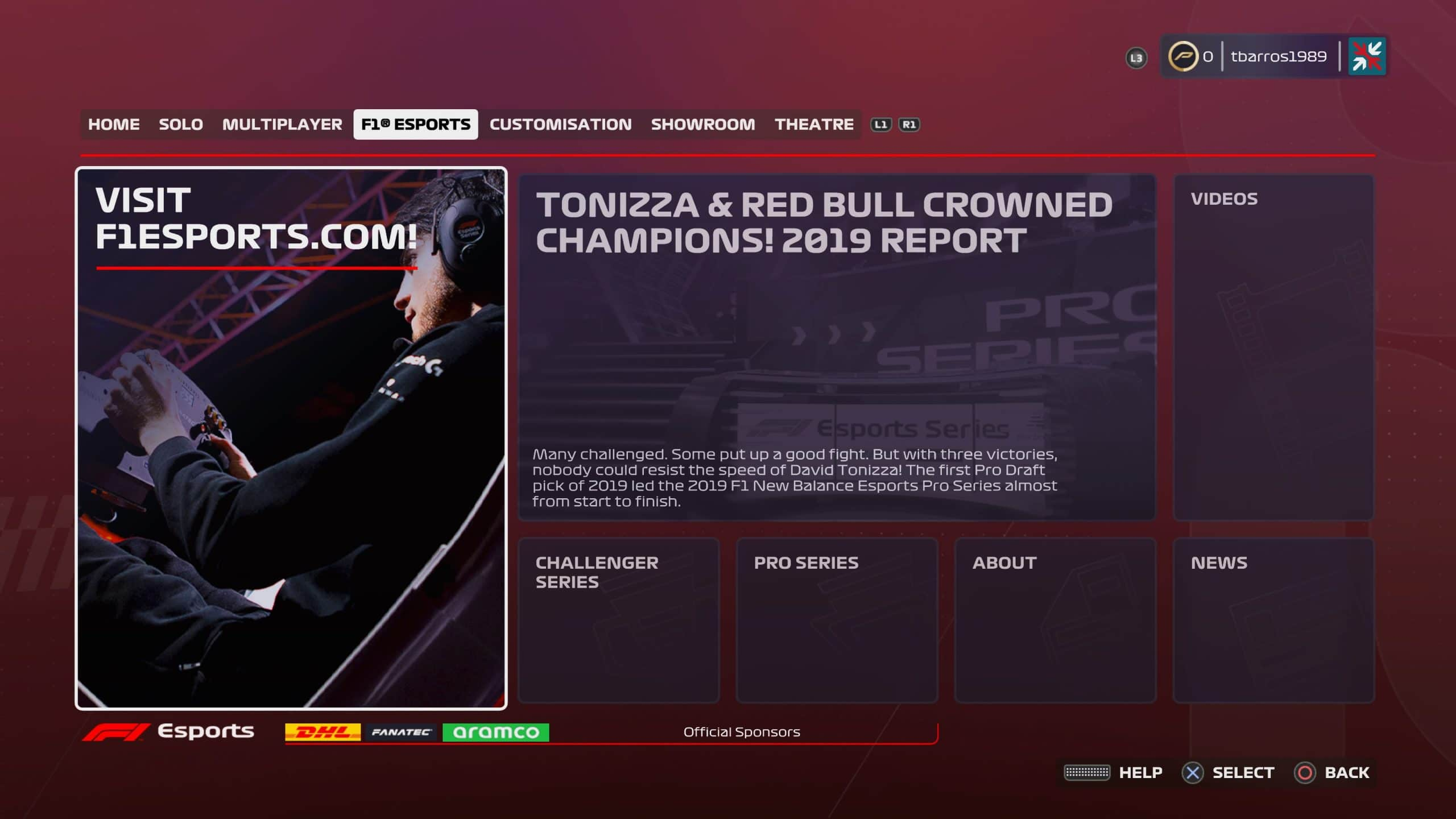 F1 2020 reforça foco da categoria nos e-sports (Foto: Reprodução/Thiago Barros)