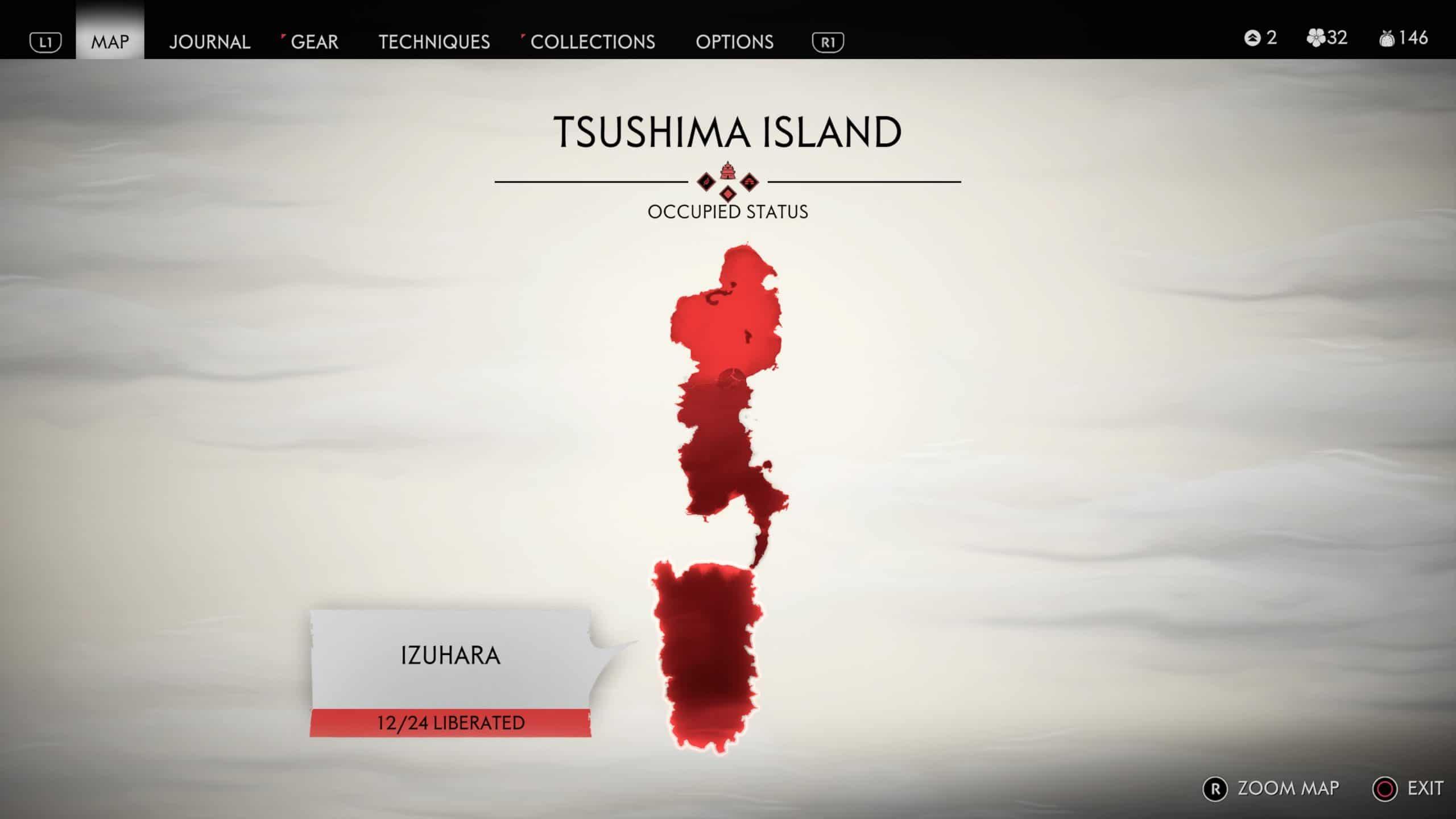Mapa de Ghost of Tsushima é bem grande (Foto: Reprodução/Thiago Barros)