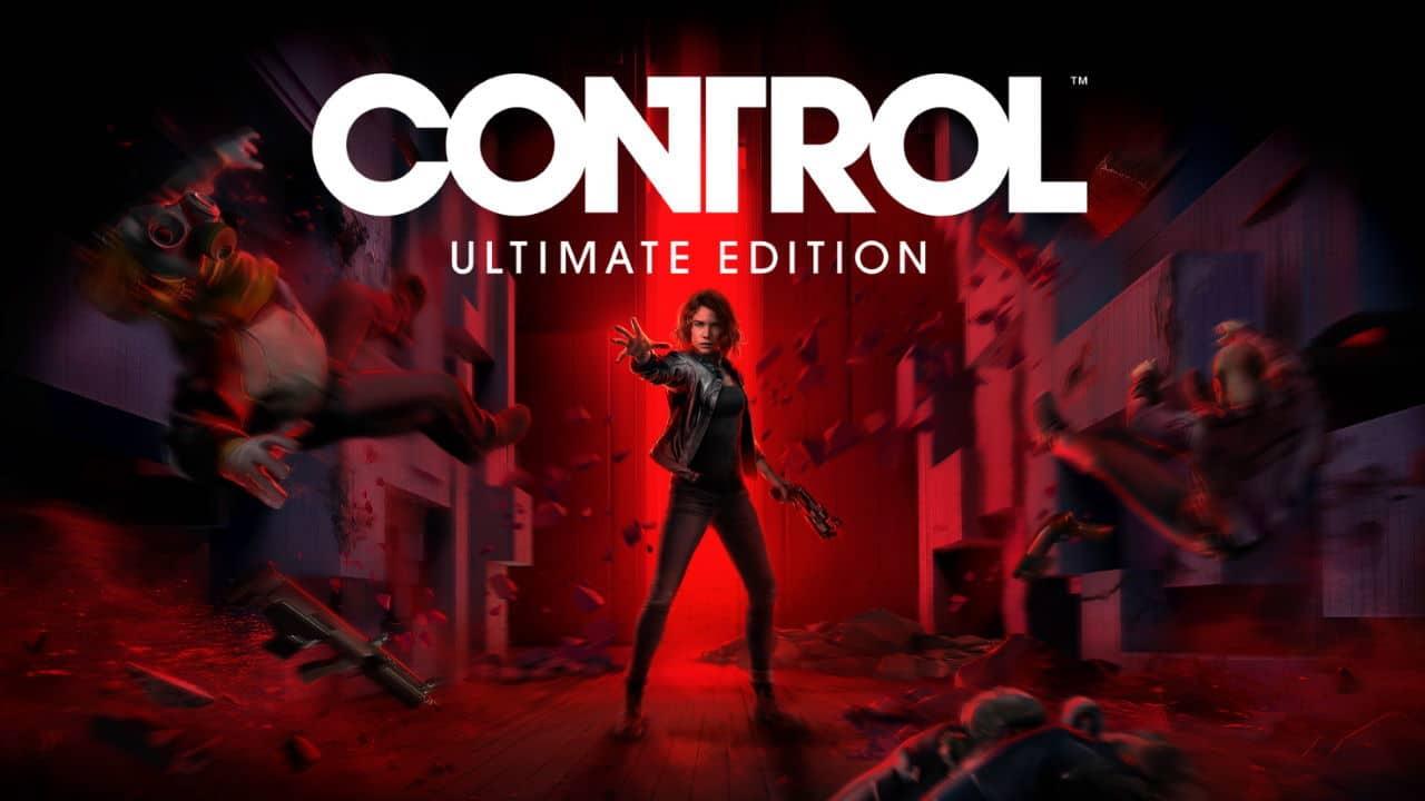 Protagonista de Control segurando uma e com o fundo da imagem em vermelho.