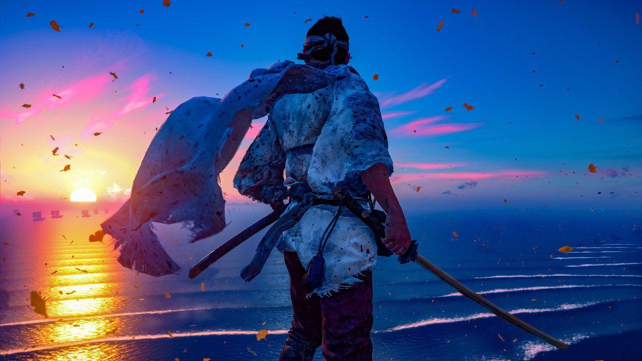 Jin Sakai em uma colina enquanto vê o por do sol em Ghost of Tsushima.