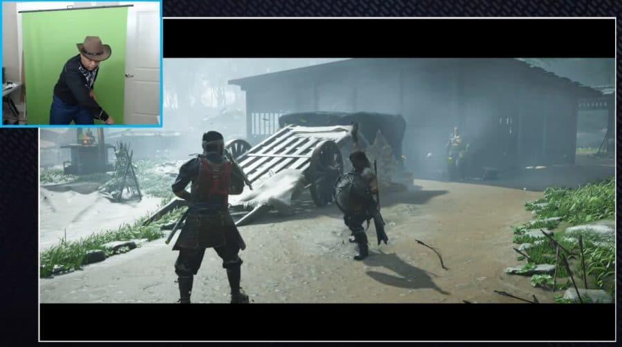 Na pele de Jin: jogador de Ghost of Tsushima usa uma katana como controle