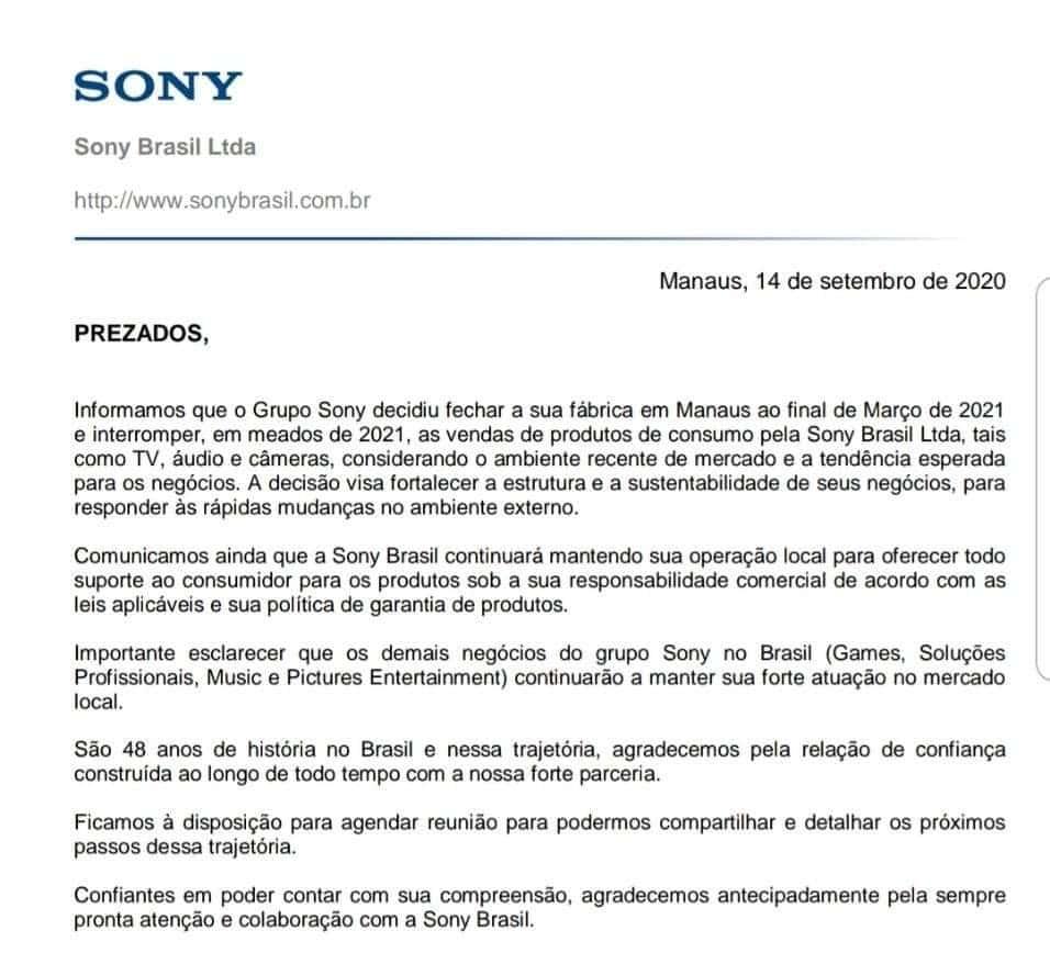 Comunicado Sony