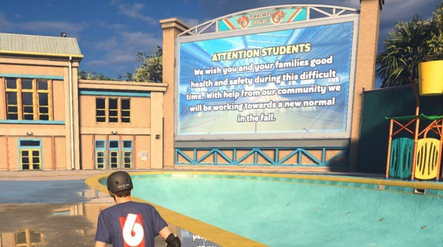 Colégio de Tony Hawk's Pro Skater 1+2 está vazio por conta da pandemia