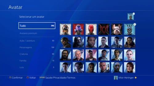 Veja todos os novos avatares gratuitos do update 8.0 do PS4