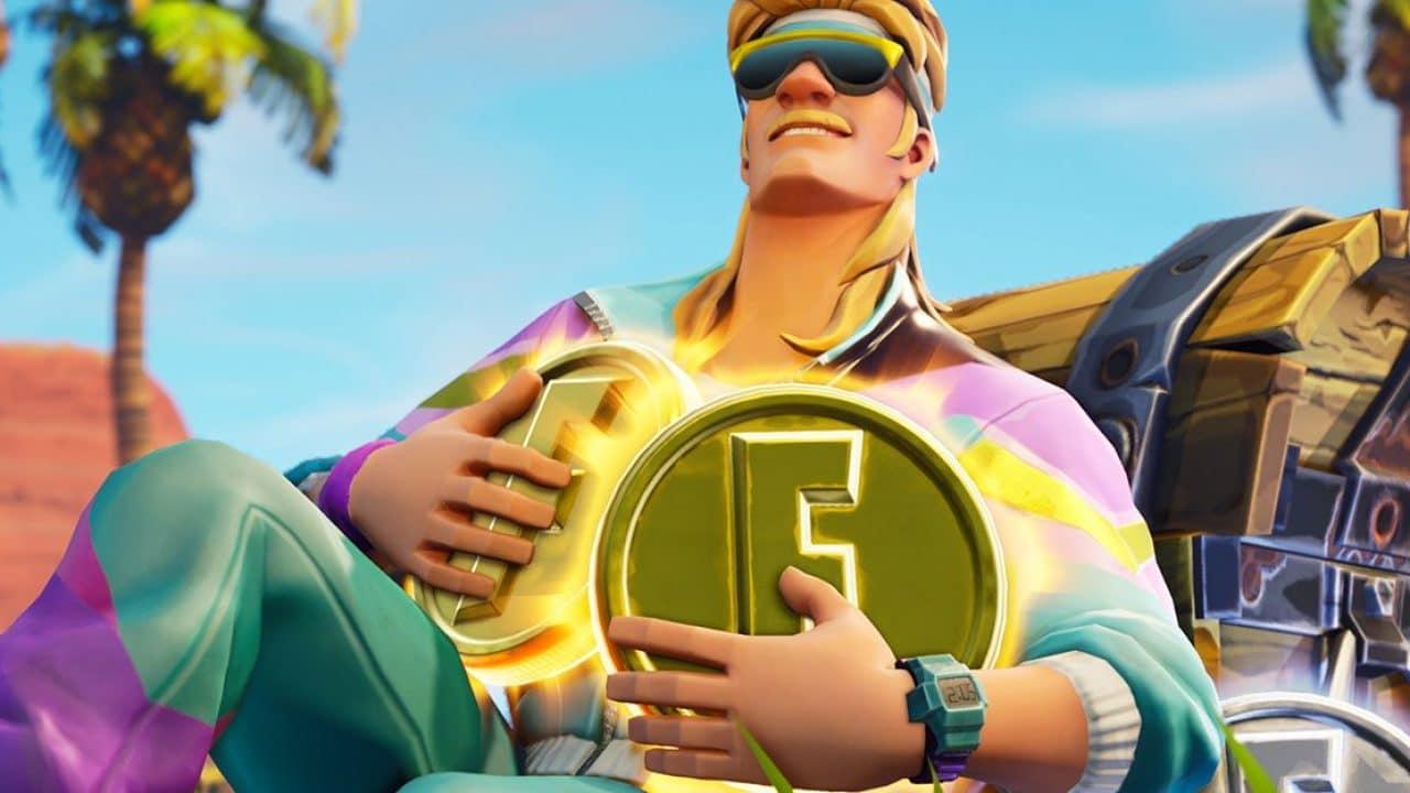 personagem de Fortnite, jogo disponível em plataformas SOny, segurando uma moeda dourada