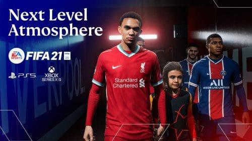 Abertura de FIFA 21 no PS5 destaca a atmosfera de uma partida de Champions League