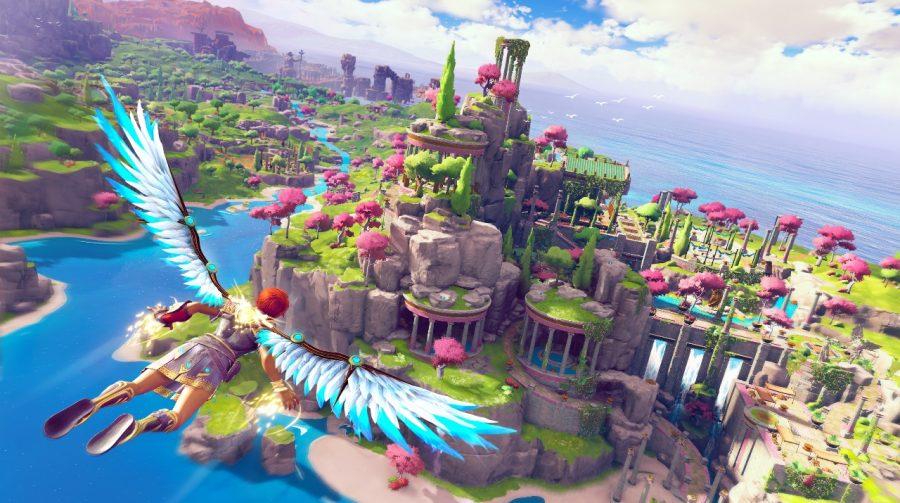 Gameplay de Immortals Fenyx Rising no PS5 destaca cenários