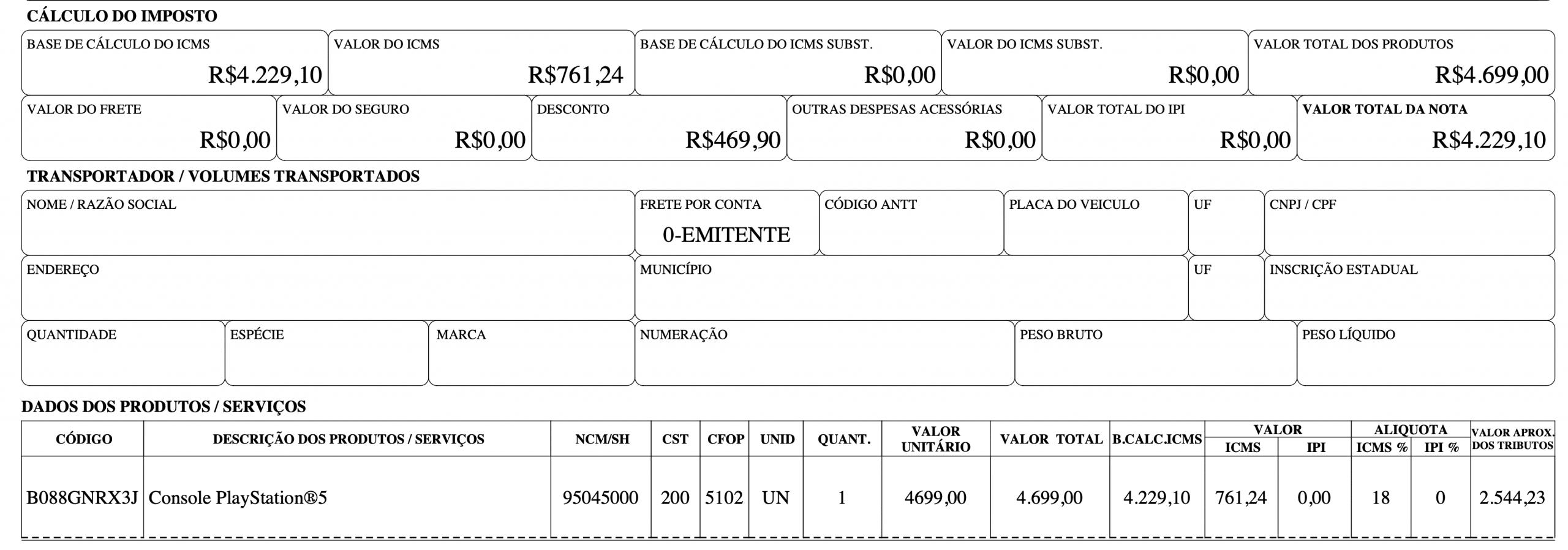 Impostos PS5