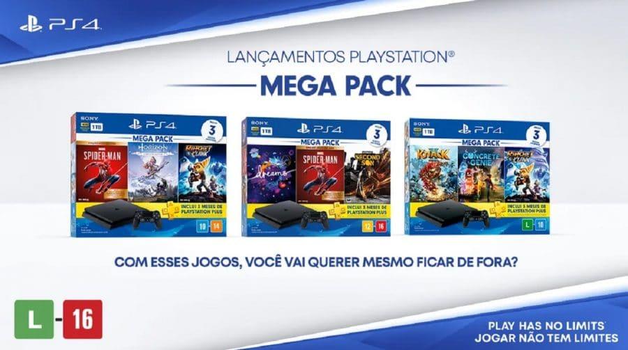 Sony anuncia três novos Mega Packs de PlayStation 4 para o Brasil