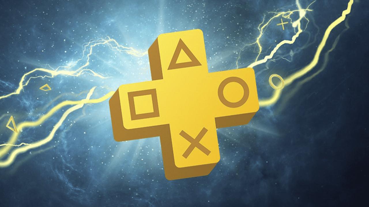 Logo da PS Plus com fundo azul escuro e detalhes com raios amarelos