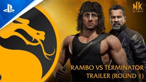 Rambo e o Exterminador do Futuro quebram o pau em gameplay de Mortal Kombat 11