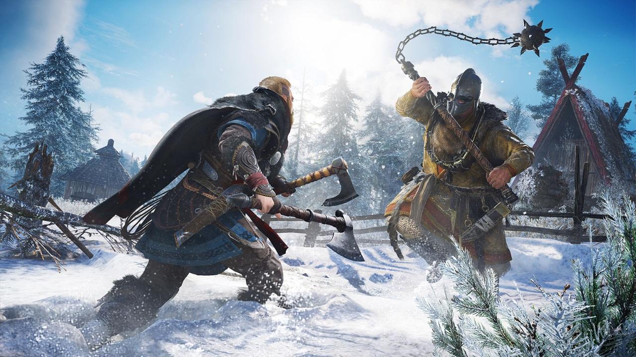 Imagem do protagonista de AC Valhalla lutando contra um inimigo em um cenário com neve