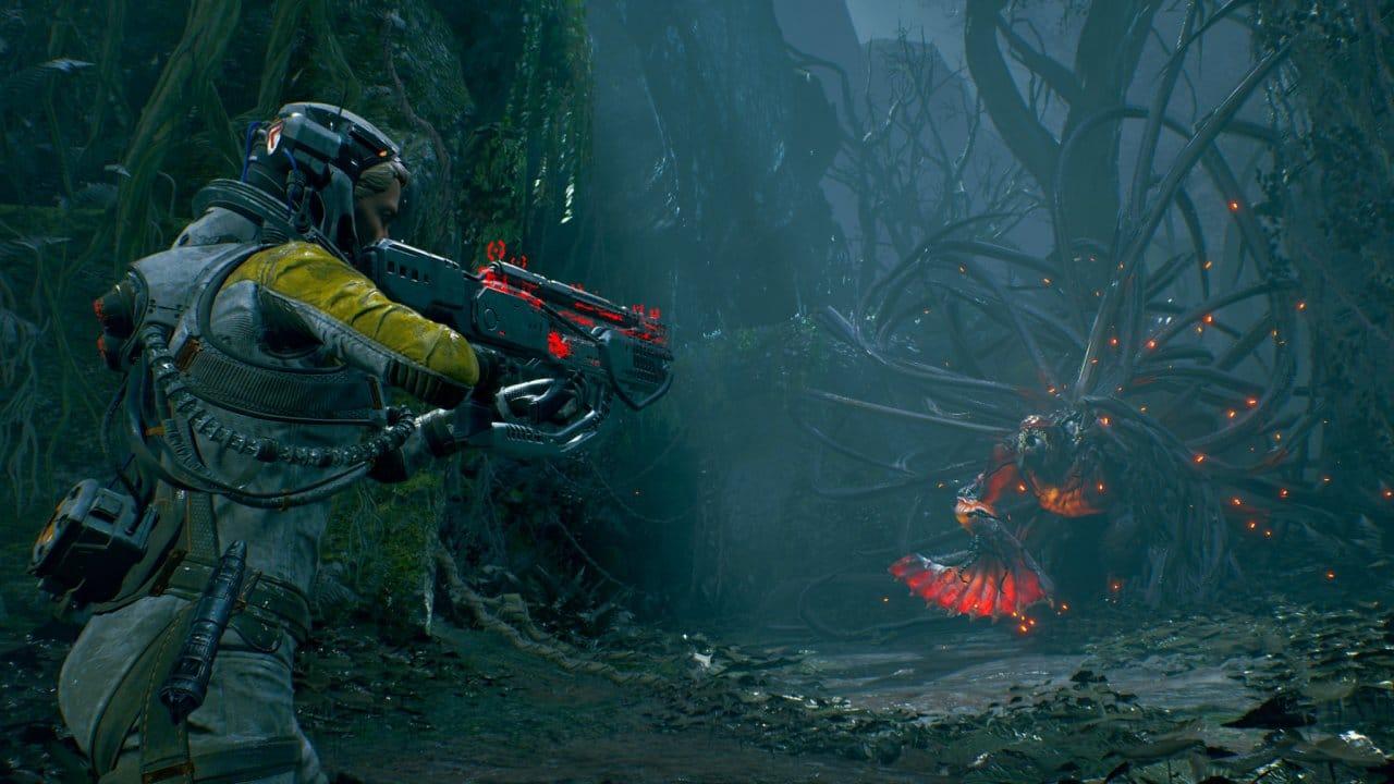 Selene no bioma do planeta Átropos em gameplay de Returnal
