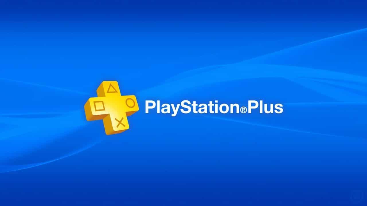 Logo da PS Plus com fundo azul e letras amarelas.