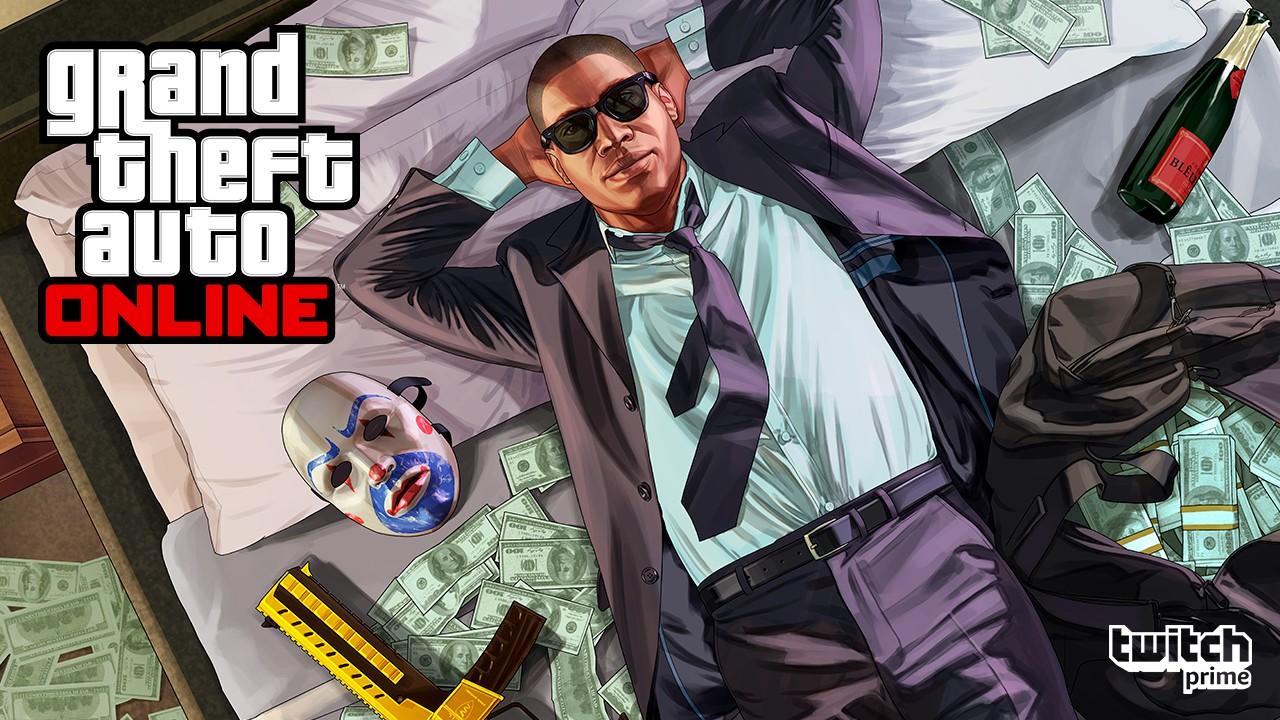Personagem de GTA Online deitado em uma cama cheia de dinheiro e armas