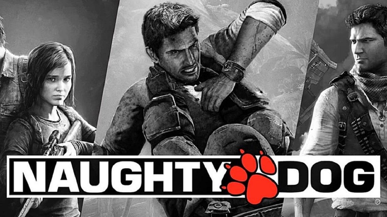 Protagonistas dos jogos produzidos pela naughty Dog em uma imagem preta e branca.