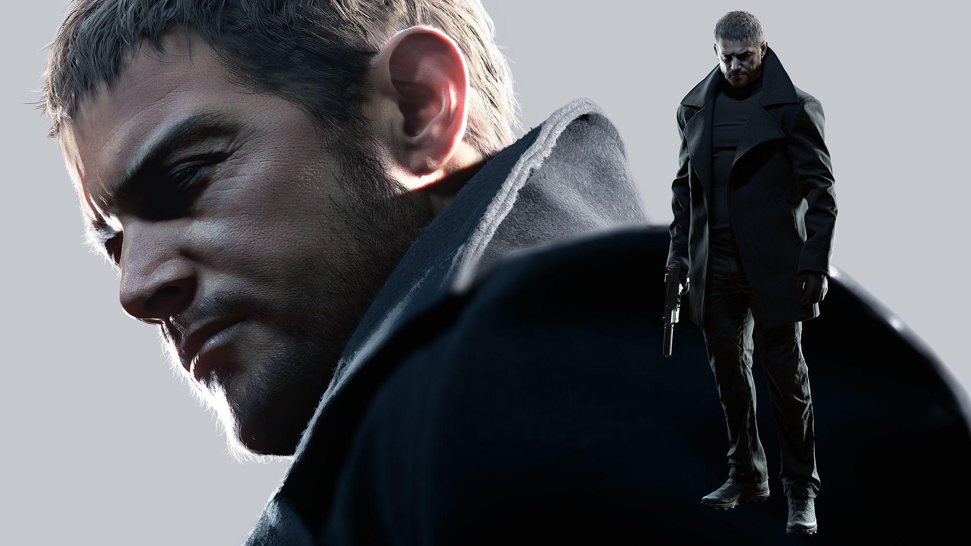 Chris Redfield, de Resident Evil Village, com sobretudo e arma na mão.
