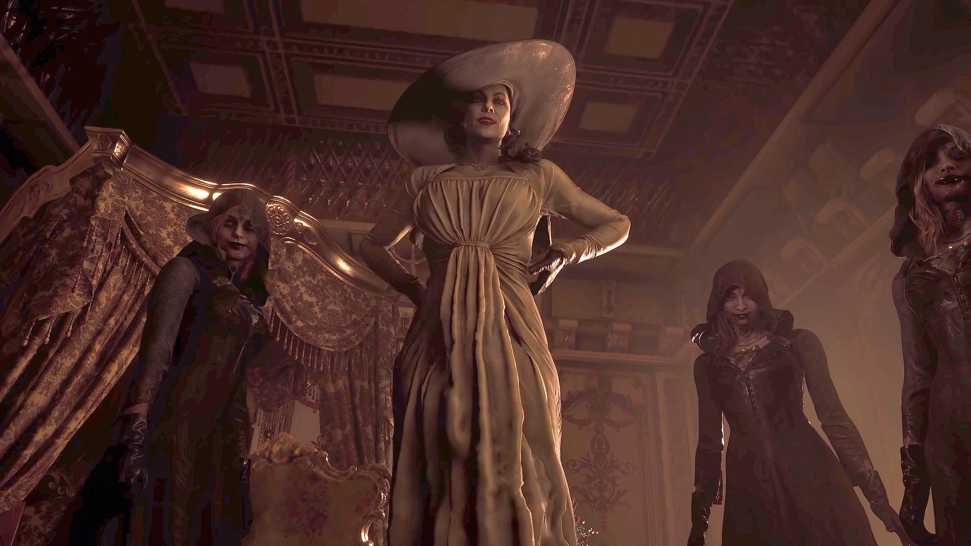 Lady DImitrescu e suas filhas em um quarto de castelo em Resident Evil Village