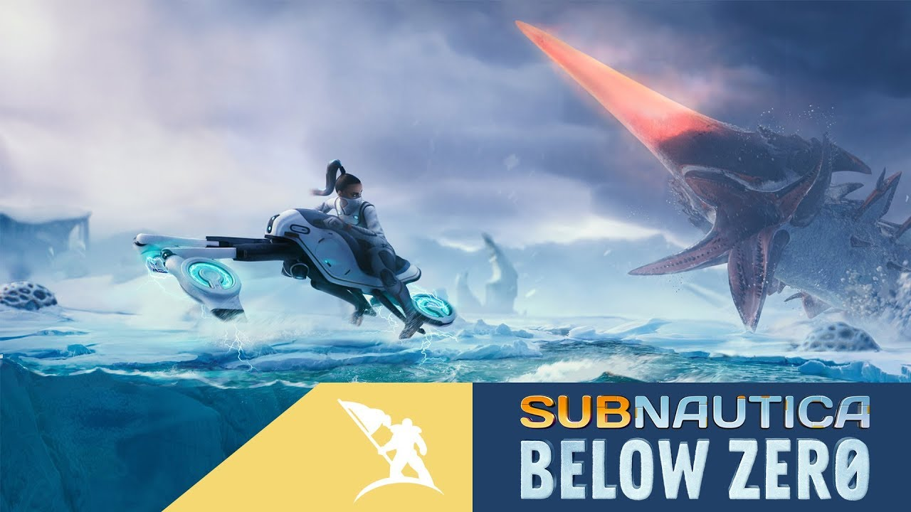 Imagem de capa do jogo Subnautica Below Zero com uma personagem montada em um veículo, fugindo de um inimigo