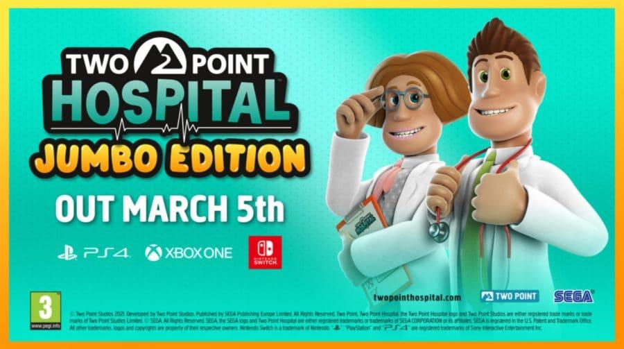 Two Point Hospital: JUMBO Edition chega dia 5 de março ao PS4