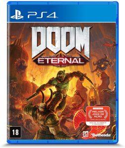 Capa do jogo DOOM Eternal para PS4 com o personagem principal cercado de inimigos