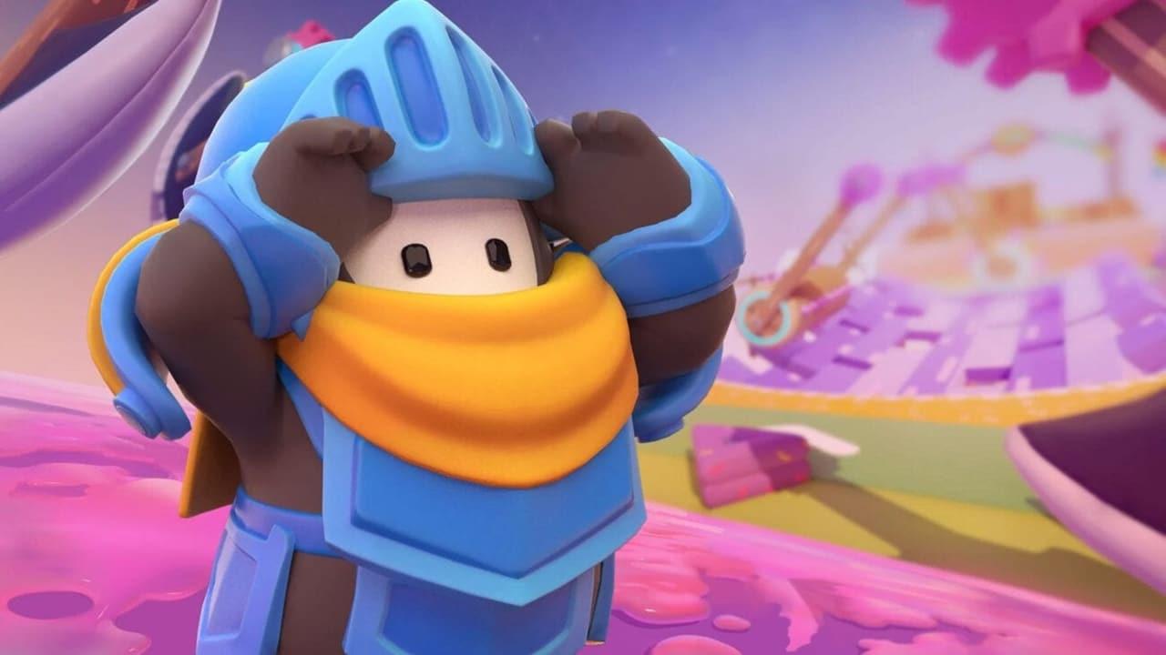 Personagem de Fall Guys com armadura medieval azul.