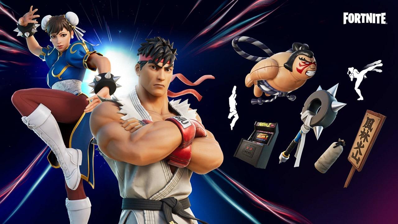Pacote de Street Fighter em Fortnite. A imagem mostra Chun-Li, Ryu e os itens disponíveis no pacote.