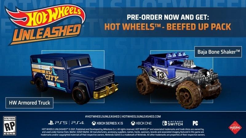 Carros que são bônus de pré-venda do game Hot Wheels Unleashed.