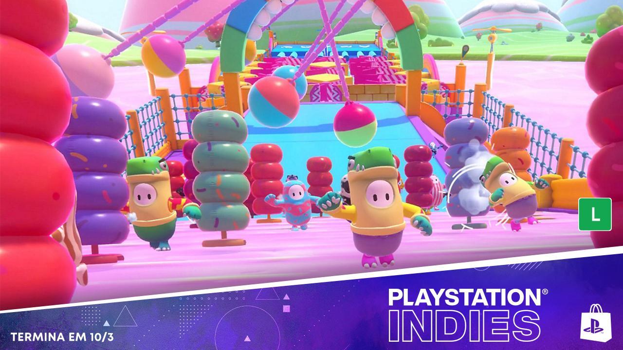 Imagem da matéria sobre a Sony com o personagem de Fall Guys correndo nos descontos em jogos da PS Store