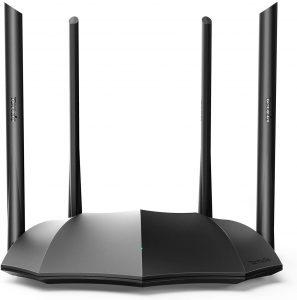 Imagem do Roteador wifi marca Tenda na cor preta com 4 antenas modelo AC1200MBPS