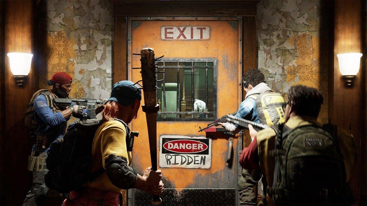 Quatro personagens do beta aberto de Back 4 Blood armados diante de uma porta.