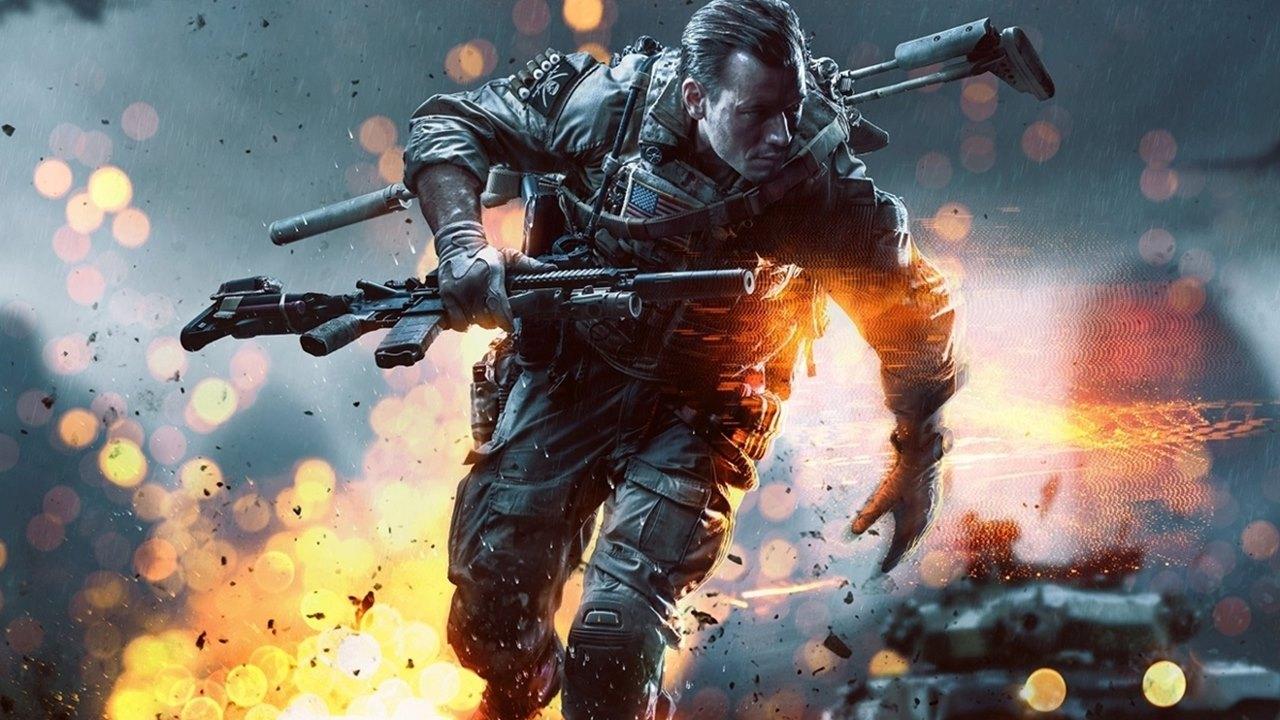 Soldado de Battlefield no campo de guerra segurando uma arma e em fuga.
