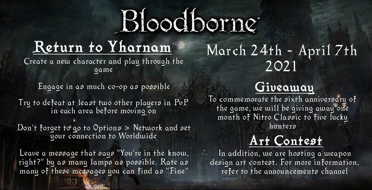 Convite da comunidade de Bloodborne para comemorar o sexto aniversário do título.