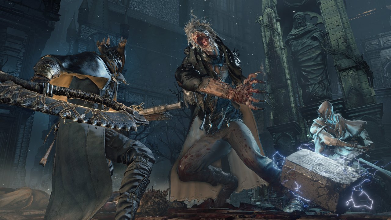 Jogadores se unindo para derrotar um boss em Bloodborne online