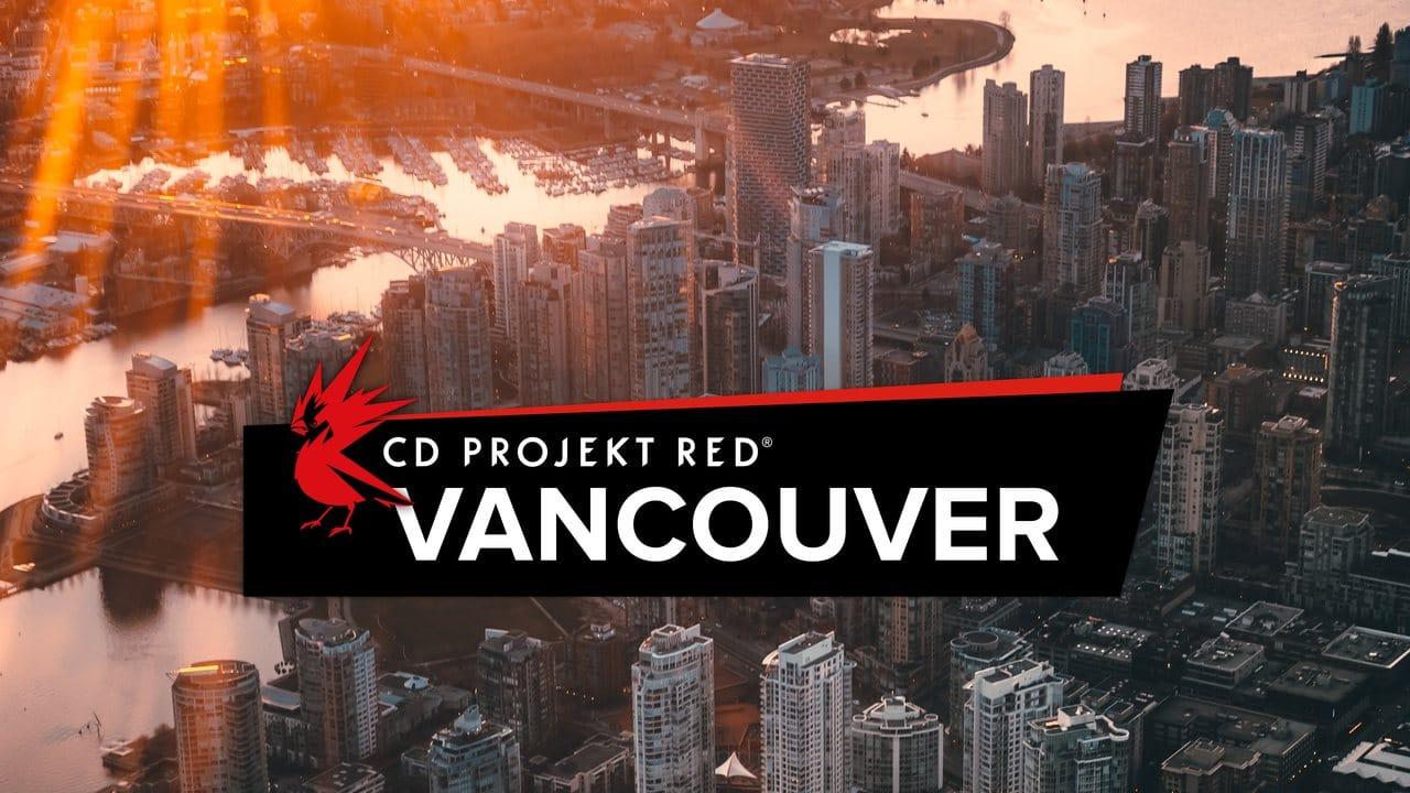 Imagem do logo da CD Projekt RED Vancouver e a cidade ao fundo