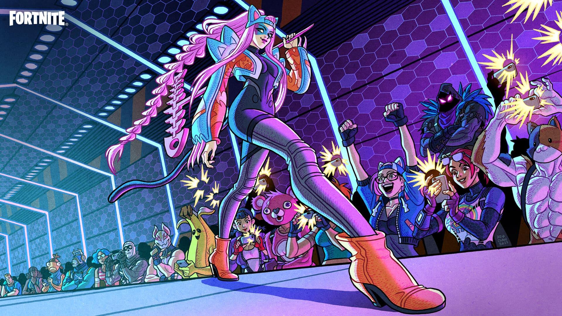 Tela de carregamento do jogo Fortnite exclusiva para a assinatura Clube Fornite que que mostra a personagem Alli juntamente com outros heróis do jogo