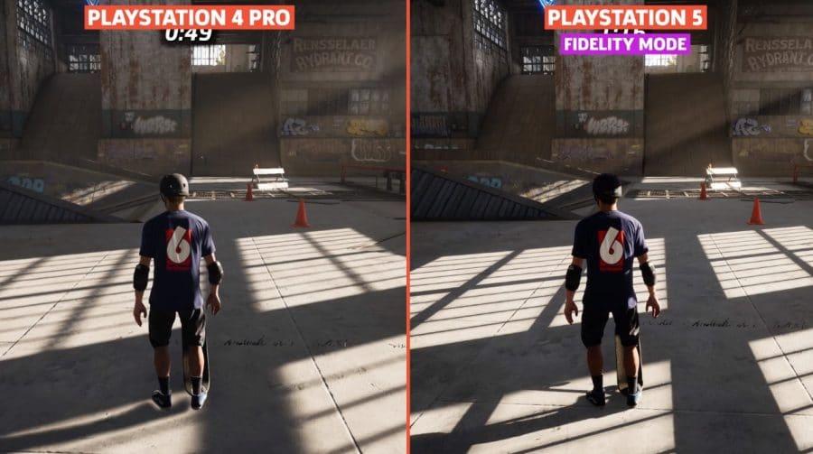 Compare Tony Hawk's Pro Skater 1+2 no PS4 Pro vs. PS5