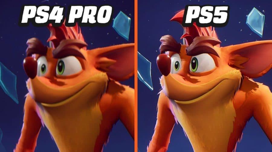 Compare as versões de PS4 e PS5 de Crash Bandicoot 4: It's About Time