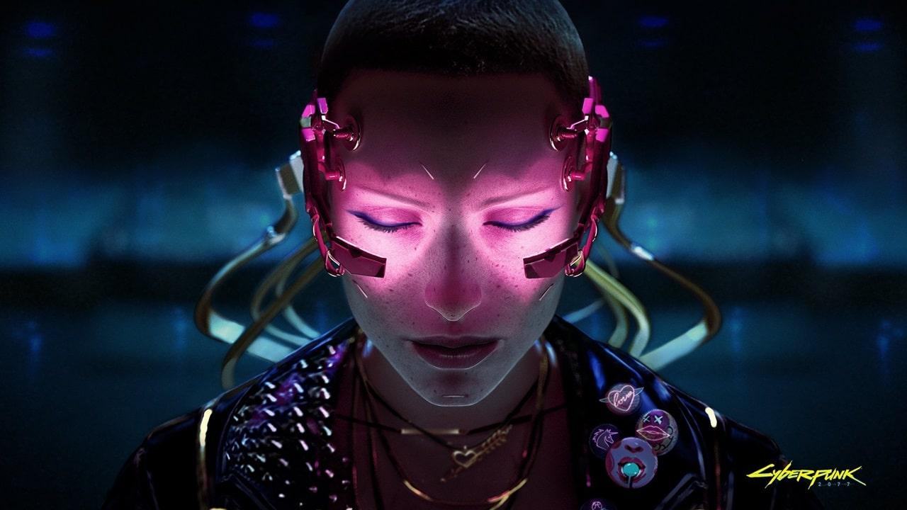 Personagem de Cyberpunk 2077 com neon roxo no rosto.