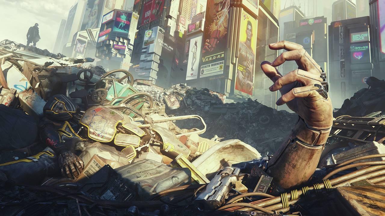 Mão saindo de escombros em arte de Cyberpunk 2077.