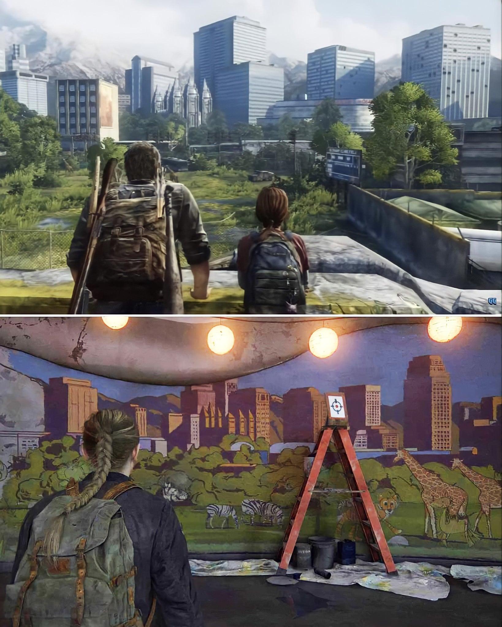 Cenas de The Last of Us 2 e do primeiro jogo.