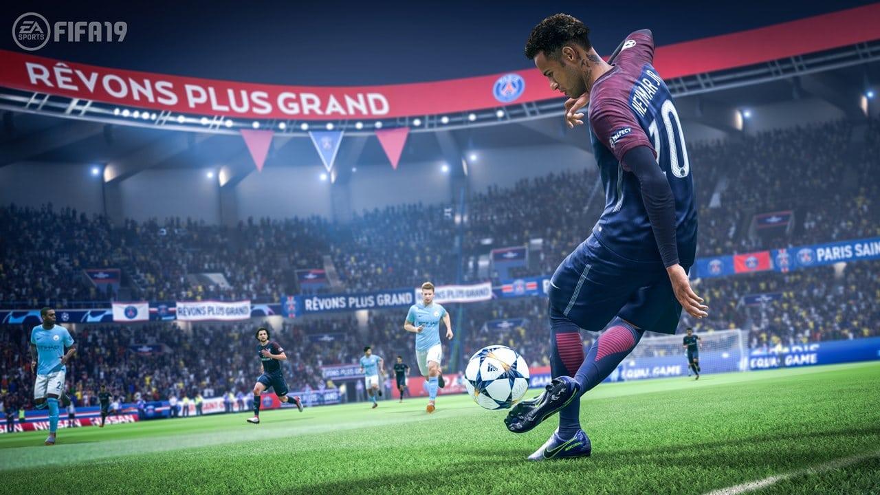 Neymar dominando a bola em FIFA 21, jogo de futebol da Eletronic Arts.