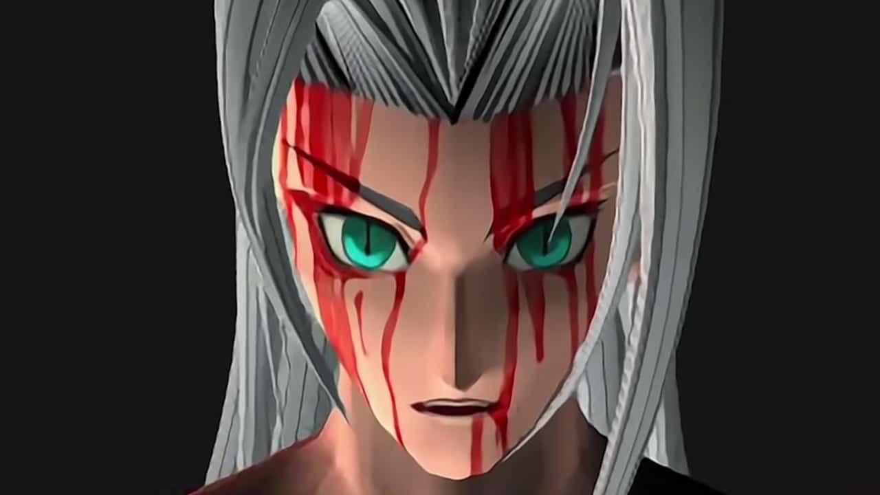 Final Fantasy VII Remake Intergrade: Versão de Sephirot do clássico de PS1 com sangue no rosto.
