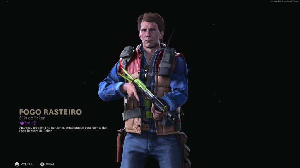 Operador Baker em destaque segurando uma arma e com uma nova skin lendária de Call of Duty Warzone inclusa no Passe de Batalha