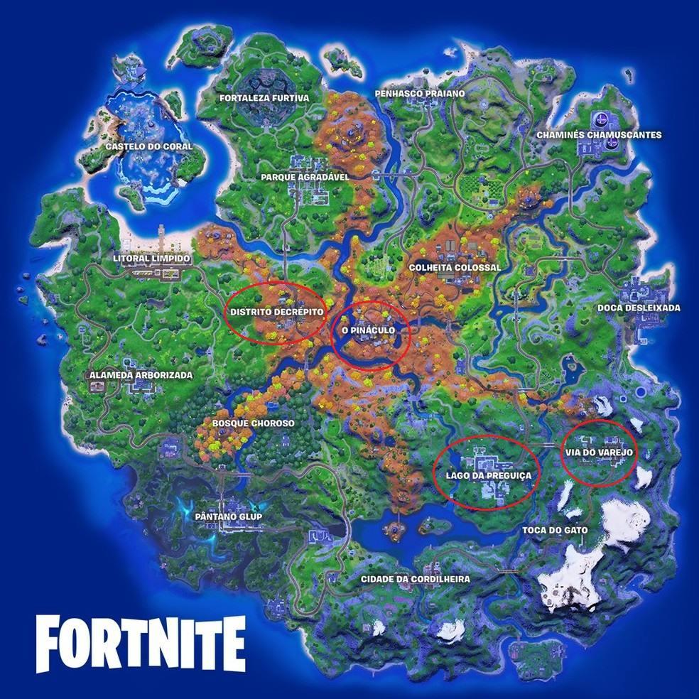Mapa da sexta temporada de Fortnite.