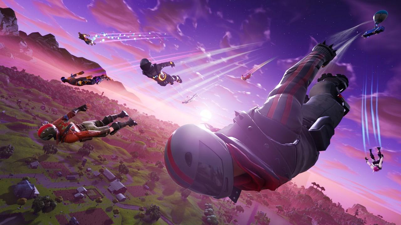 Vários jogadores caindo na ilha de Fortnite.