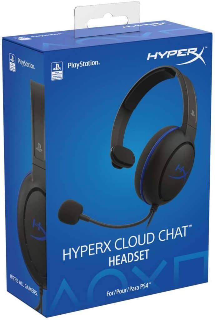 Imagem mostra a caixa do headset cloud chat da marca HyperX