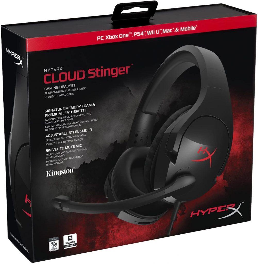 Imagem da caixa do headset Cloud Stinger da HyperX